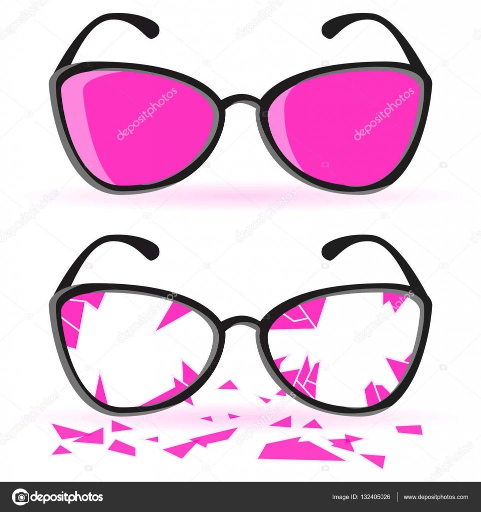 Gafas con marco negro y lentes color de rosa. Roto cristales color ...