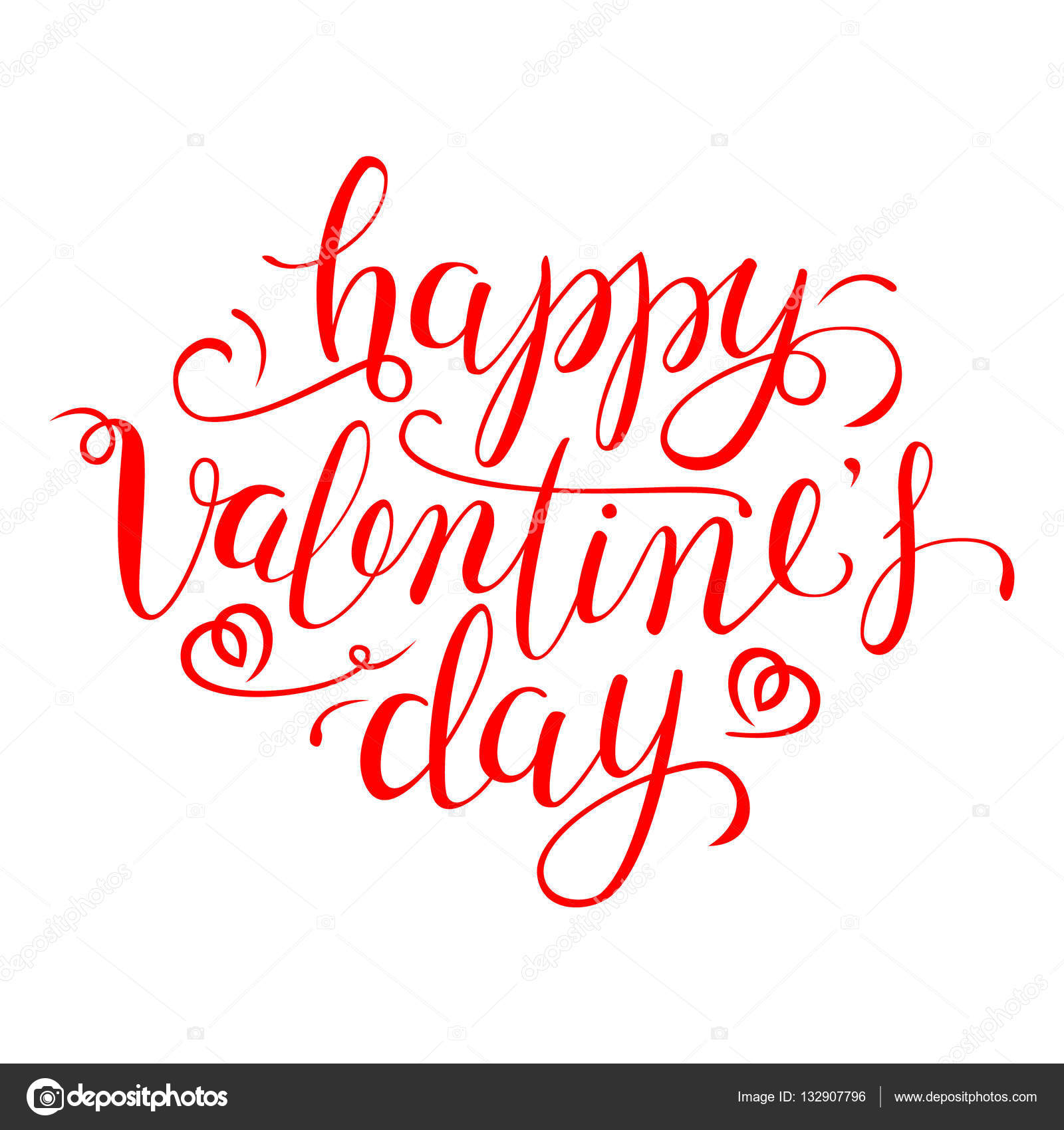 Happy Valentine S Day Calligraphic Quote Typographic Design Red