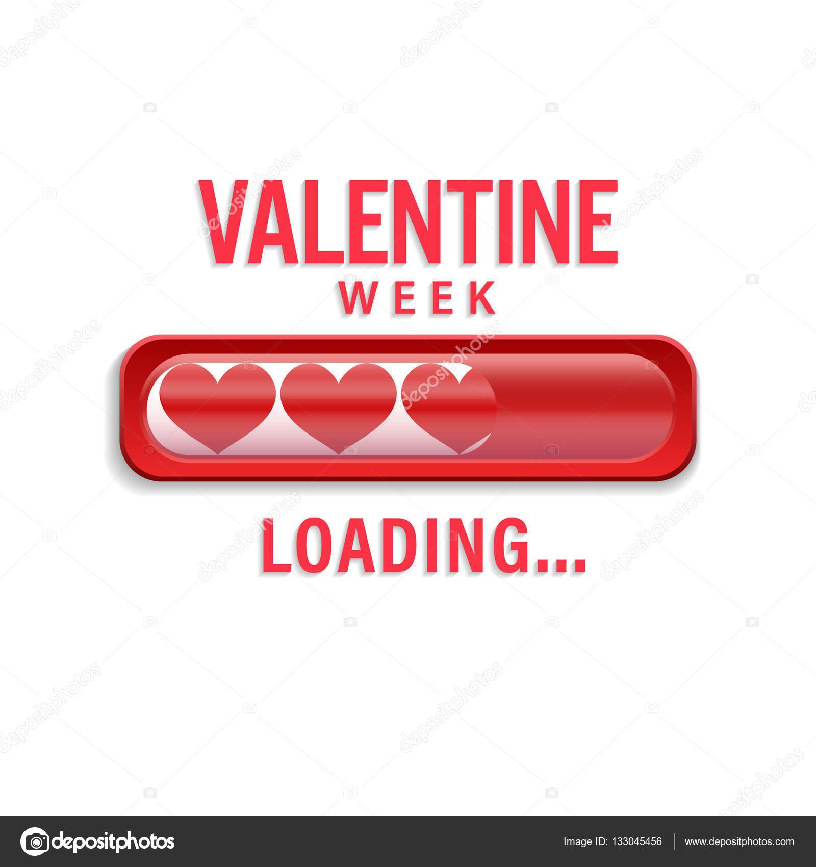 Valentine Woche Ladebalken mit roten Herzen. Isolated On White ...