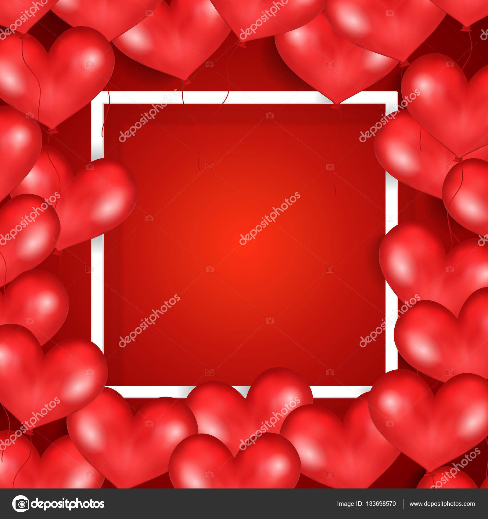 Frame With Red Flying Balloons In Form Of Heart. Red Background ...