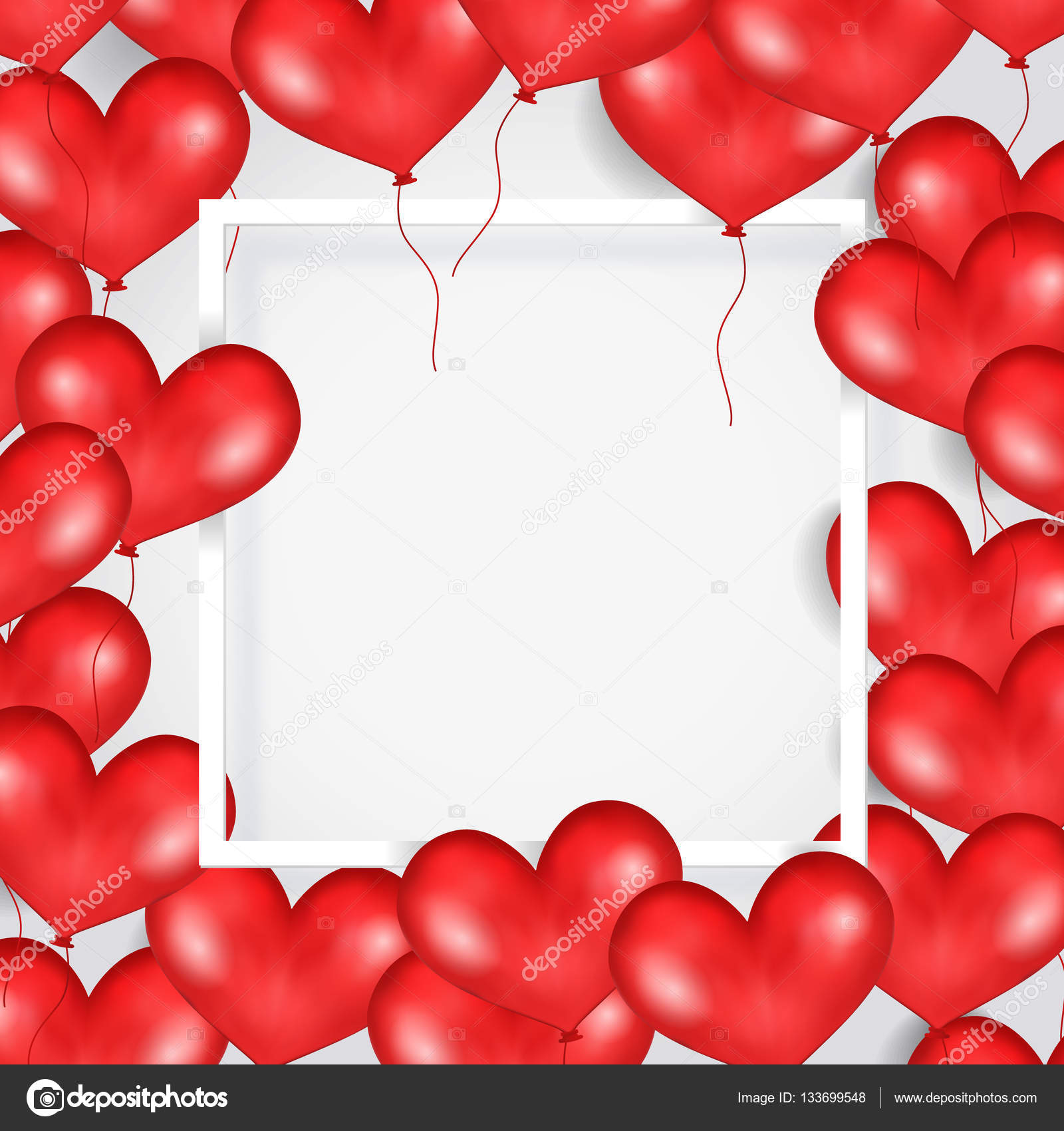 Frame With Red Flying Balloons In Form Of Heart. White Background ...