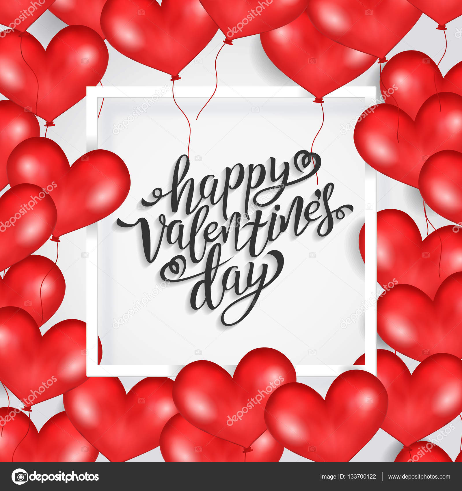 Happy Valentines Day Witte Frame Rood Hart Ballonnen Witte