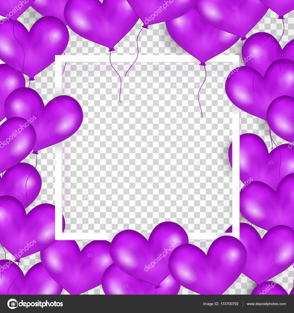 Marco con globos púrpura en forma de corazón. Fondo
