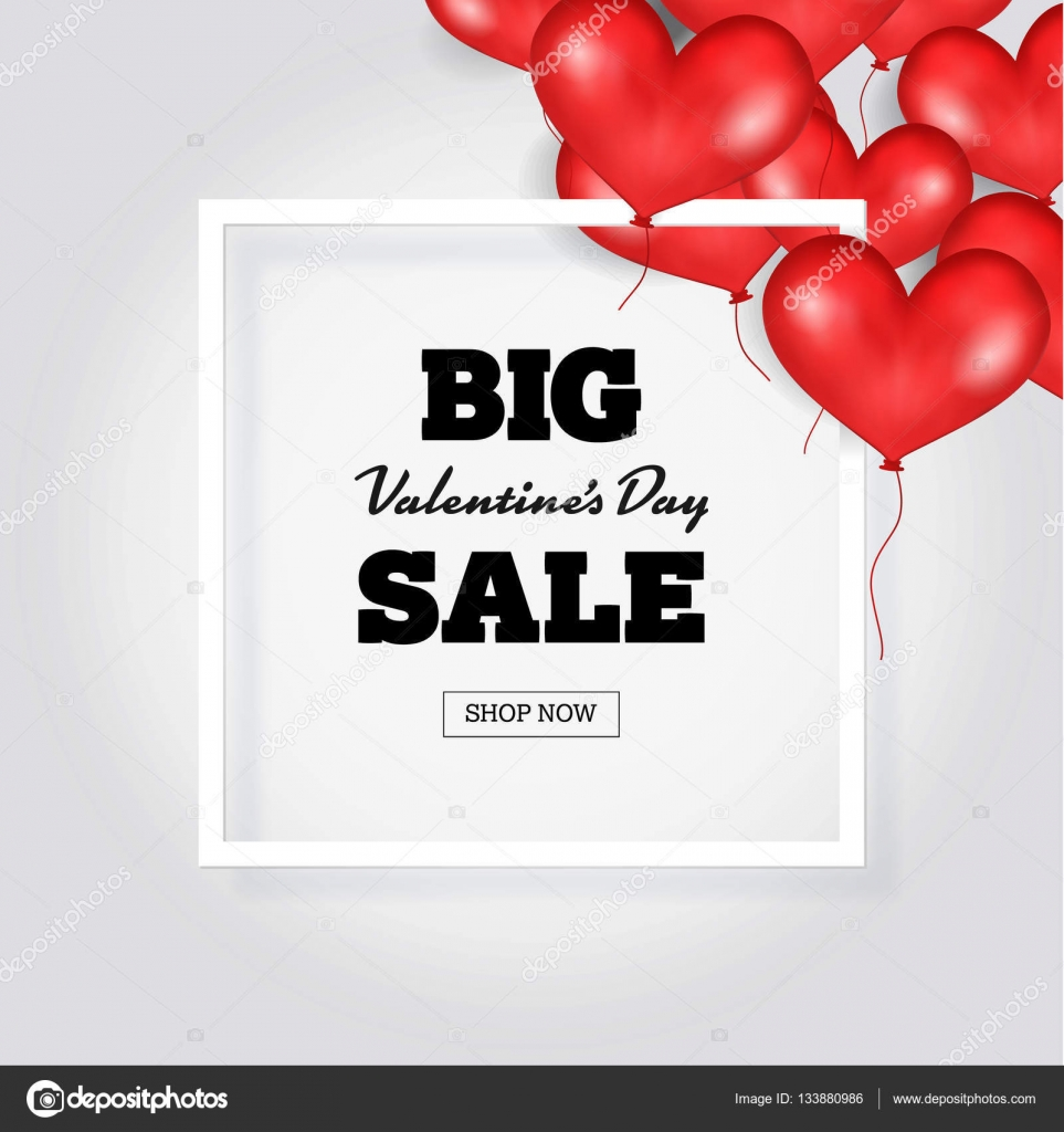 Big Valentine\'s Day Sale Banner Template. White Frame. Place For ...