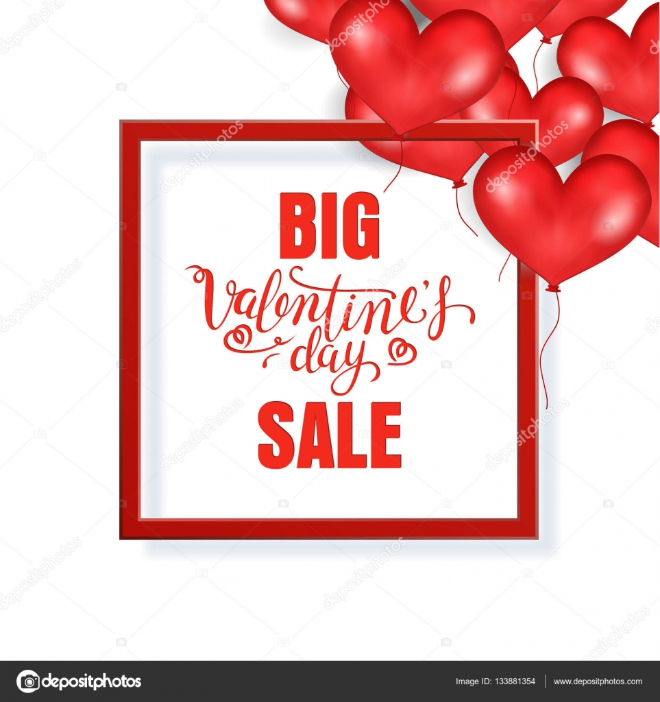 Big Valentine\'s Day Sale Banner Template. Red Frame. Place For Text ...