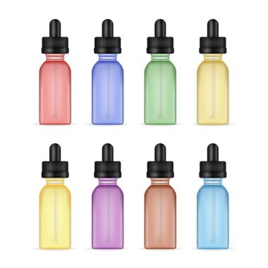 Vape Liquid Bottles. Set Photo Realistic E-liquid Bottle Mock Up Of Different Flavor. Tastes Of Electronic Cigarette. White Background. Vector Illustration.