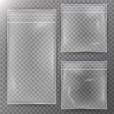 Transparent Plastic Bag. Set Reality Nylon Icon Background. Sealed Empty Transparent Zipper Bag Close Up. Mock Up Template For Your Design. Vector Illustration