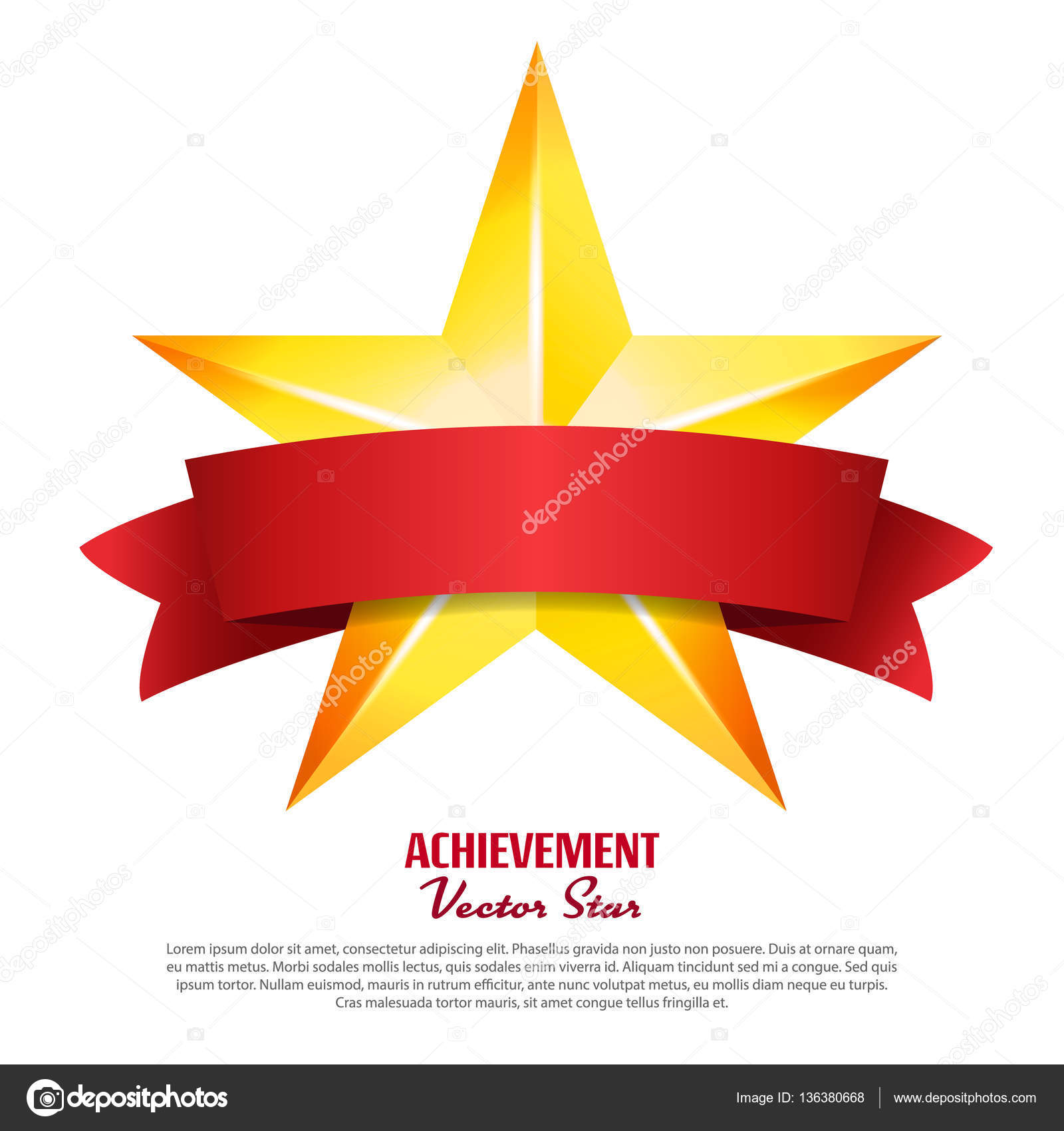 Achievement Vector Star With Red Ribbon Yellow Sign With Place For