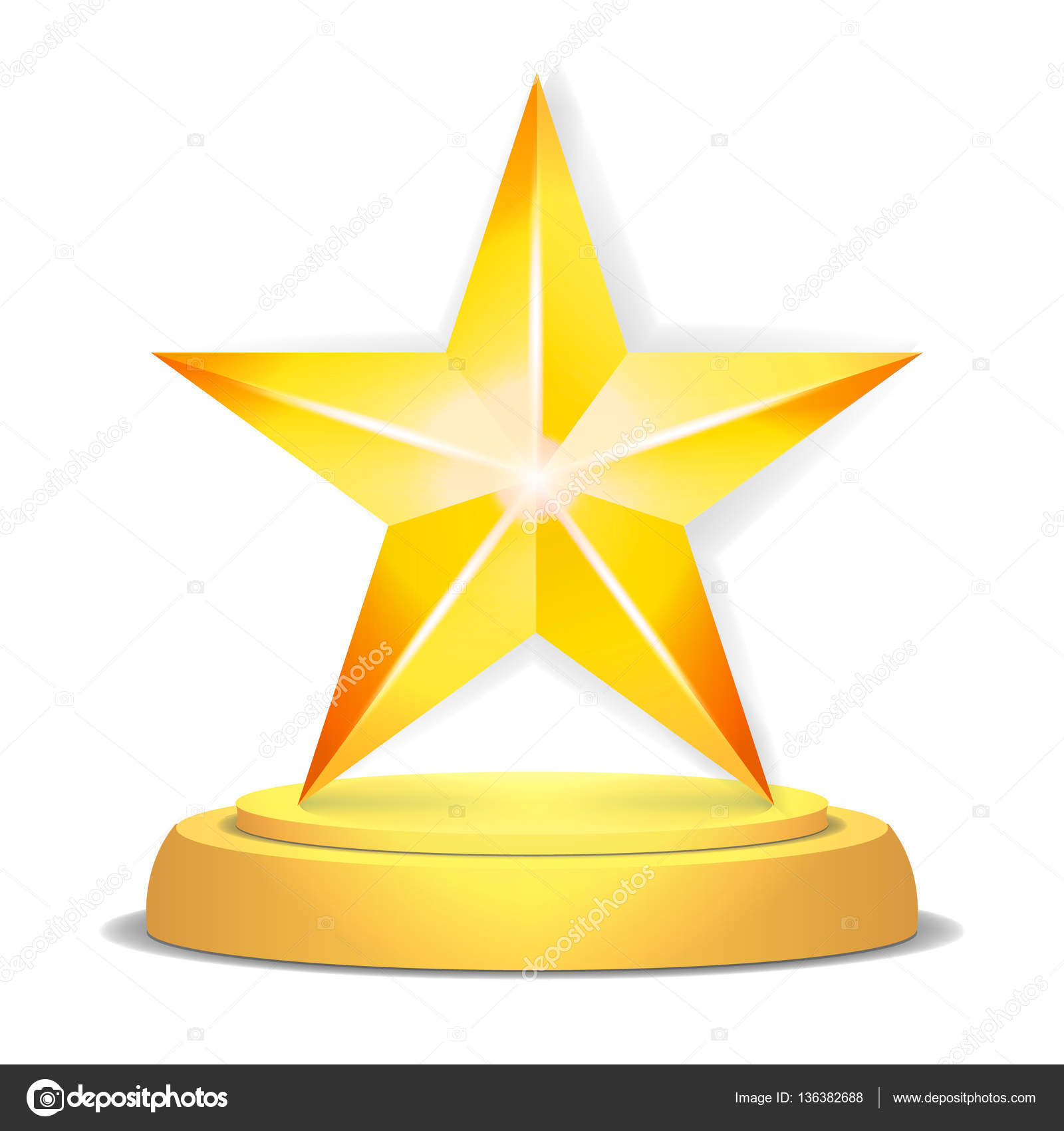 Gold Star Award Shiny Vector Illustration Modern Trophy Challenge Prize Beautiful Label Design Isolated By Pikepicture