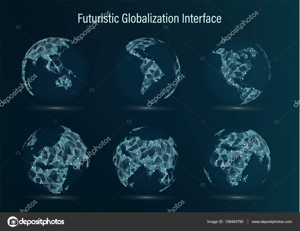 World map point set north america south africa asia europe world map point set north america south america africa asia europe australia and oceania vector illustration futuristic digital earth science gumiabroncs Images