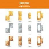 Türscharniervektor. Set klassische und industrielle Eisenwaren isoliert auf weißem Hintergrund. einfaches Metallscharnier für die Eingangstür. Edelstahl, Kupfer, Bronze, Gold, Messing. Aktienillustration