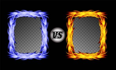 Versus Vector Symbol With Fire Frames. VS Letters. Flame Fight Background Design. Competition Concept. Fight Confrontation Sign