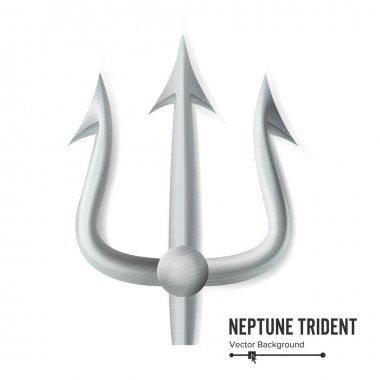 Neptune Trident Vector. Silver Realistic 3D Silhouette Of Neptune Or Poseidon Weapon. Pitchfork Sharp Fork Object. Isolated On White Background.