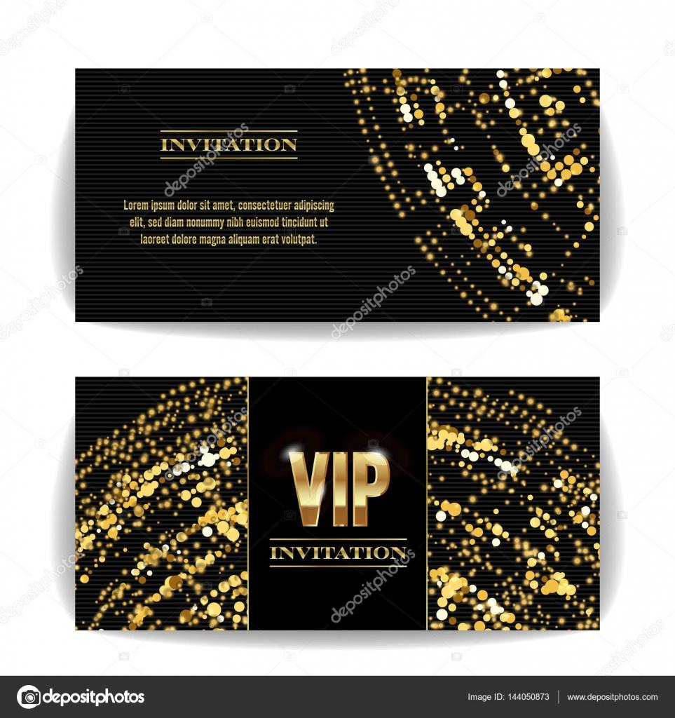 Vector De Tarjeta De Invitación Vip Lentejuelas Alrededor