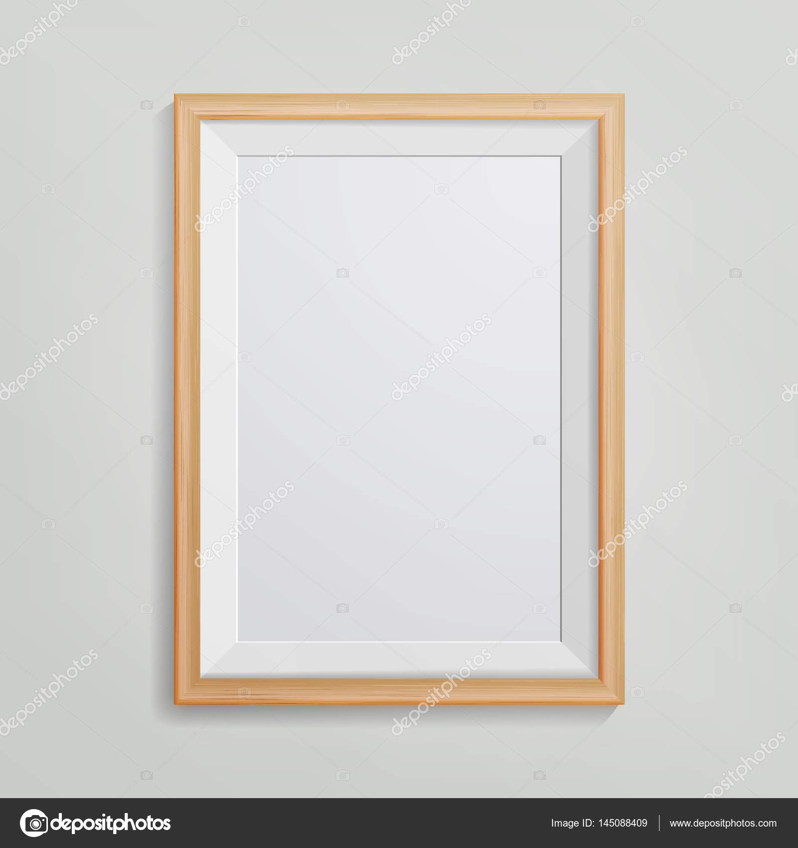 Realistic Photo Frame Vector. 3d Empty Wood Blank Picture Frame ...