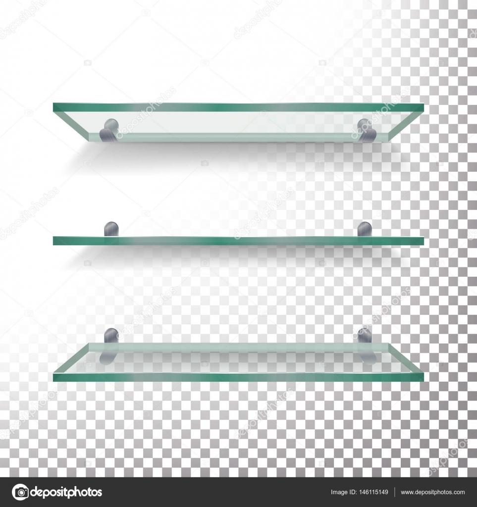 Plantilla Vector Set de repisas de vidrio vacía. Aislados en fondo ...