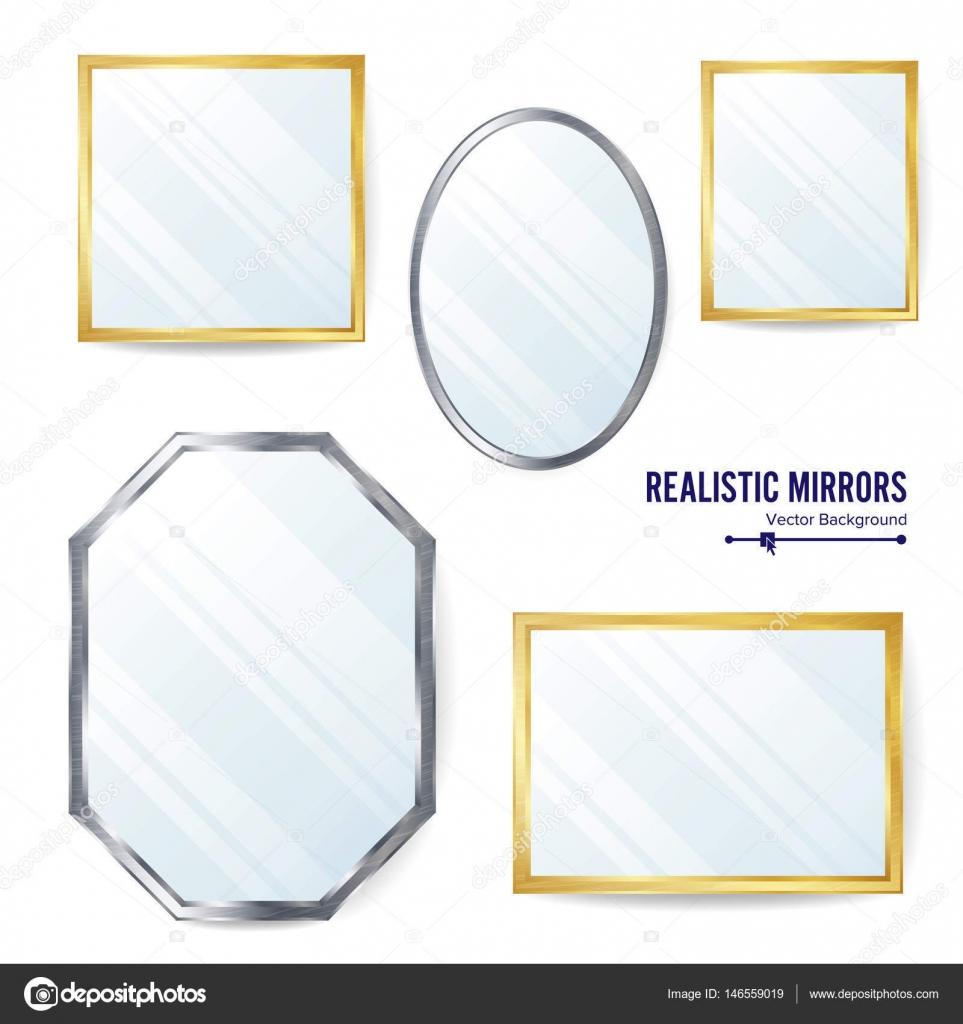 Realistici specchi Set vettoriale. Specchio di diverse forme per l ...