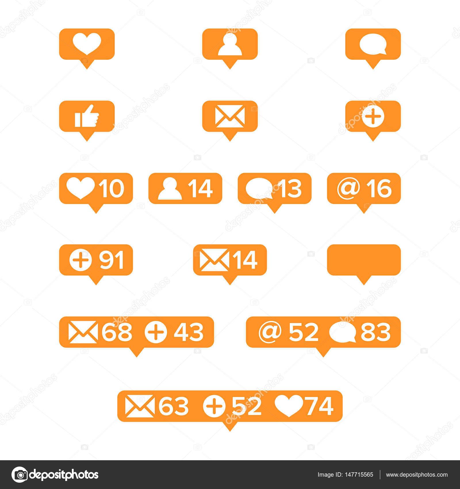 Benachrichtigungen Symbole Vorlage Vektor. Soziales Netzwerk app ...