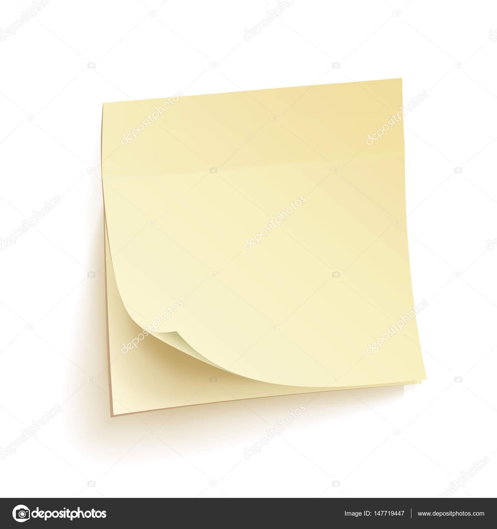 紙の作業メモ分離ベクトル空白の付箋壁にリアルなイラスト