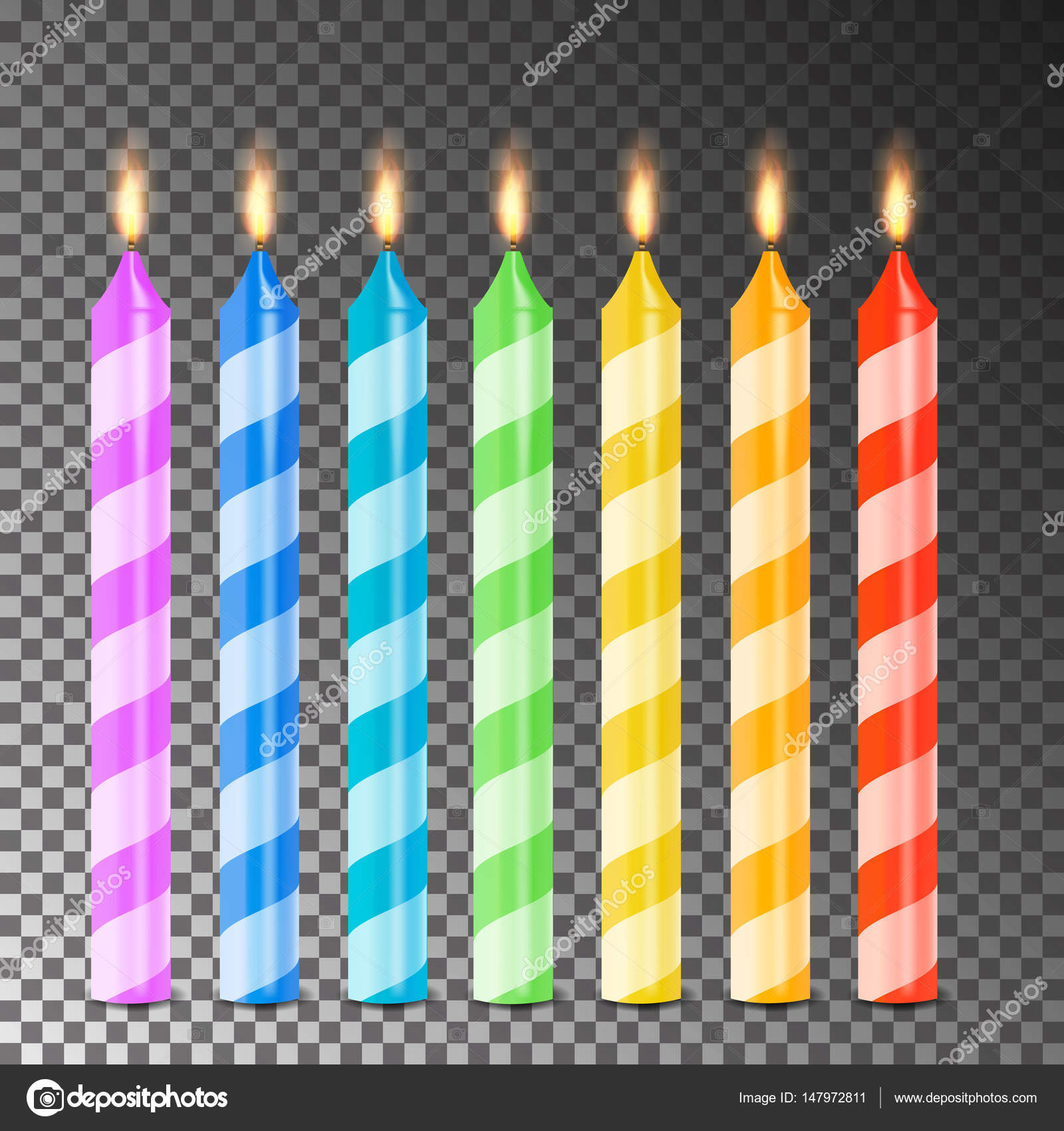 Burning 3D Realistic Dinner Candles Vector Birthday Cake Candles