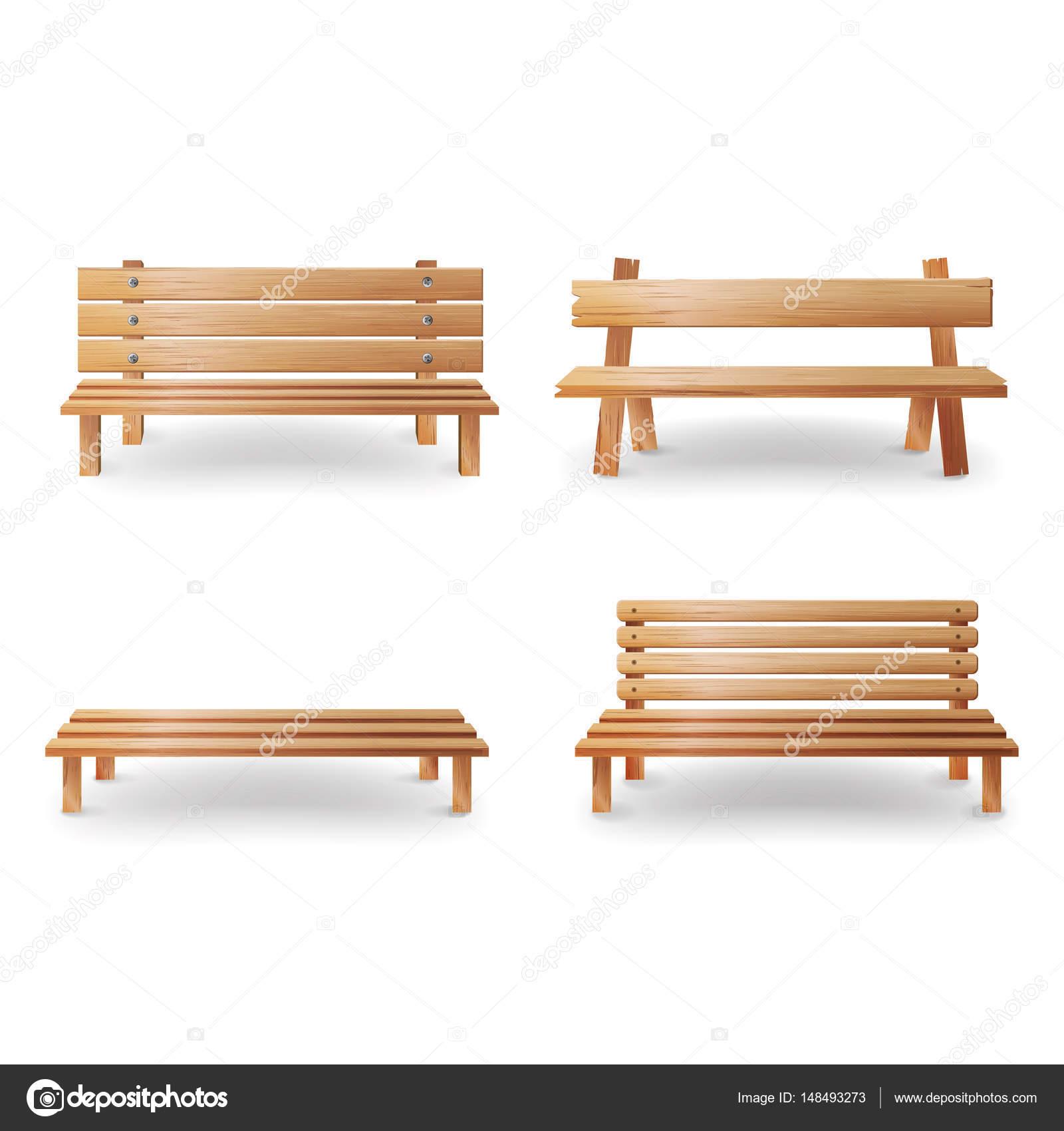 banc en bois réaliste vector illustration. arrière-plan de mobilier