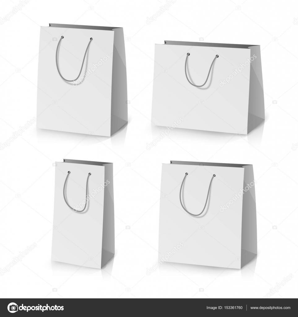 Blank Paper Bag Template Vector Realistic Gift Bag Illustration