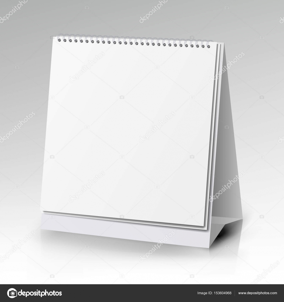 Vector Table Blank Stand Holder For Paper Calendar Card Isolated On White Background Stock