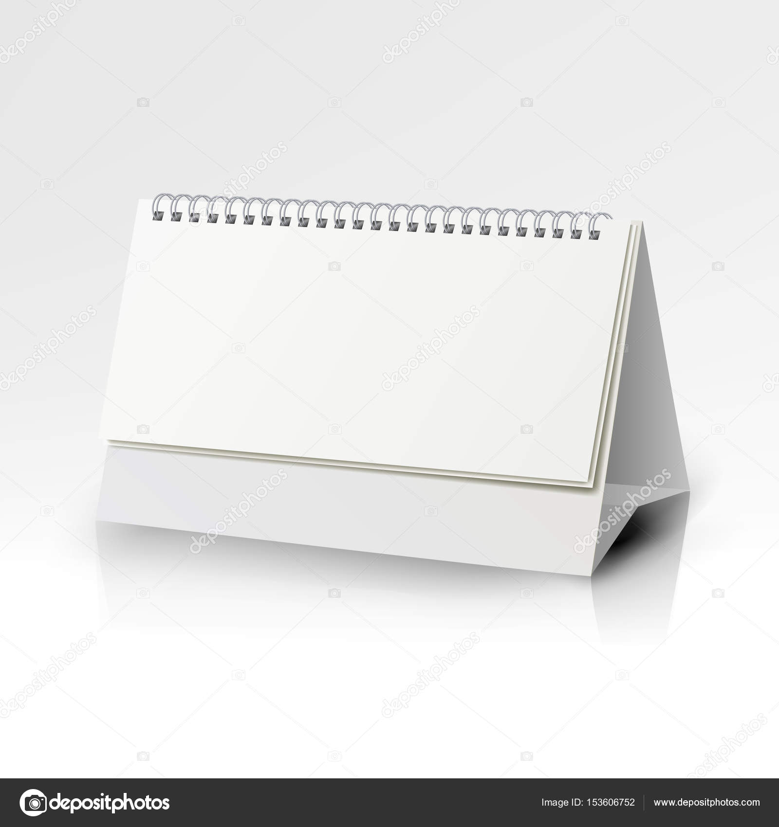 Weiße Blankopapier Tischkalender Spirale. Kalendervorlage Vektor ...