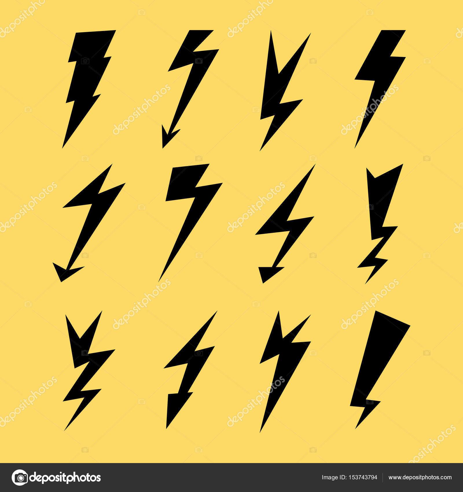 Lightning Icon Set. Electricity Thunder, Danger Symbol. Lightning ... for Electricity Lightning Bolt  10lpwja
