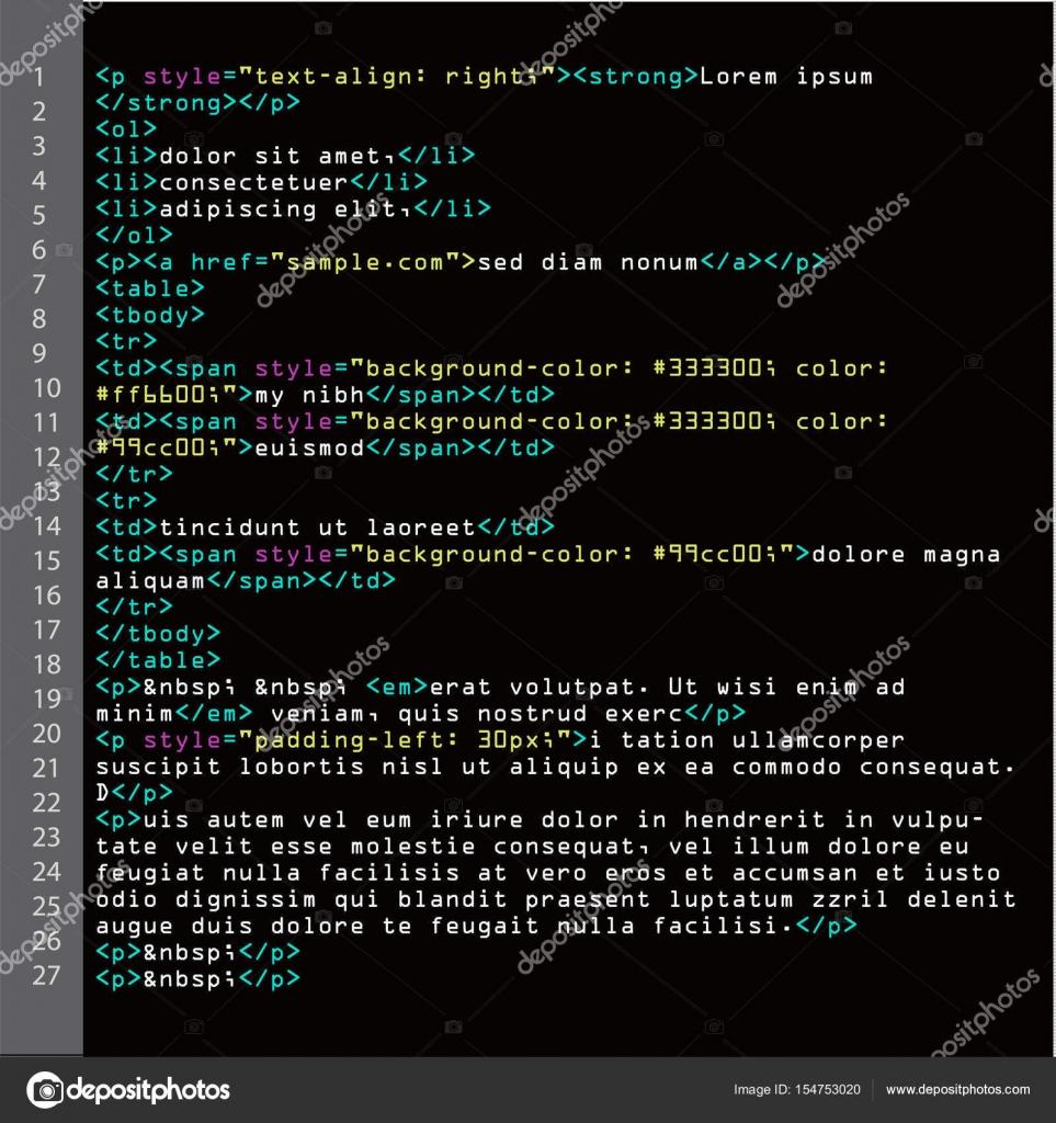 Html code fur schwarzen hintergrund