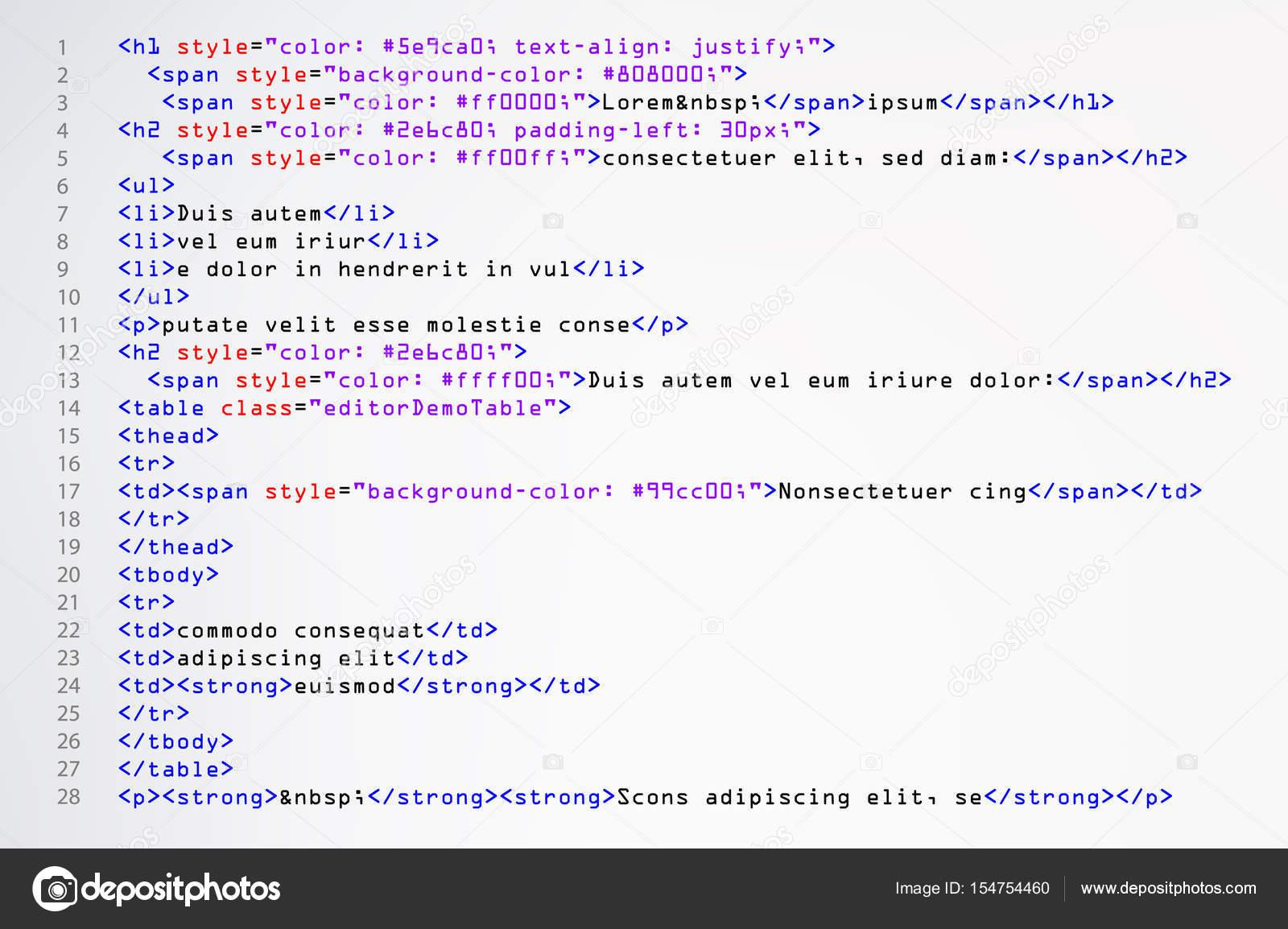 Fondo: tamaño pantalla html | Vector de código HTML Simple. Programa ...