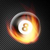 Kulečníkové koule vektor realistické. Kulečníková koule 8 v hořící styl izolované na průhledném pozadí