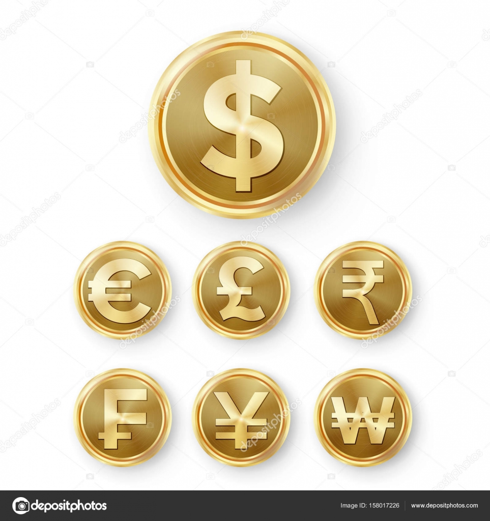 Gold coins set vector realistic money sign illustration dollar gold coins set vector realistic money sign dollar euro gbp rupee franc renminbi yuan won vector by pikepicture biocorpaavc Gallery