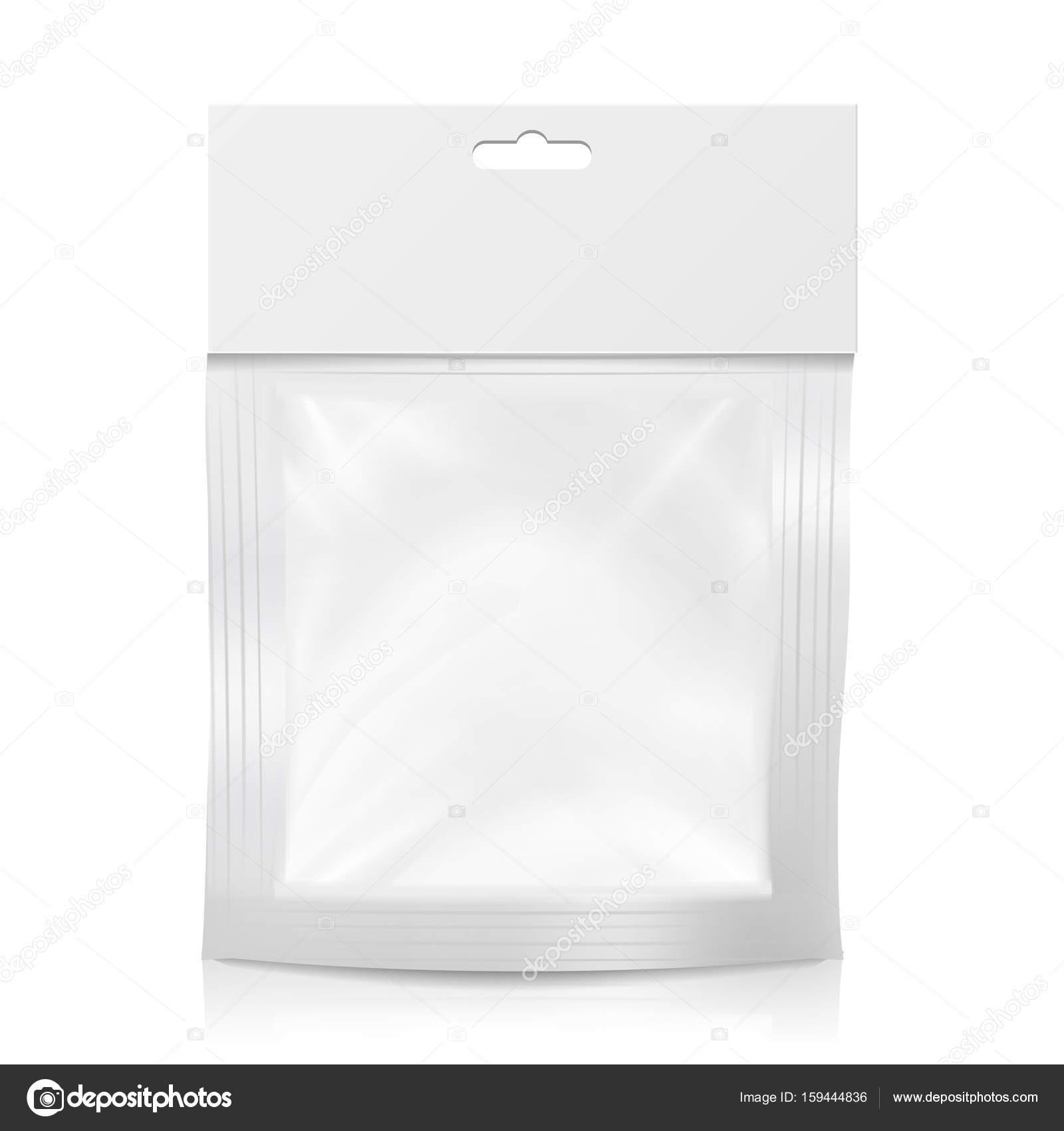 Белый продукт пакет коробки с повесить слот и пластиковые окна.