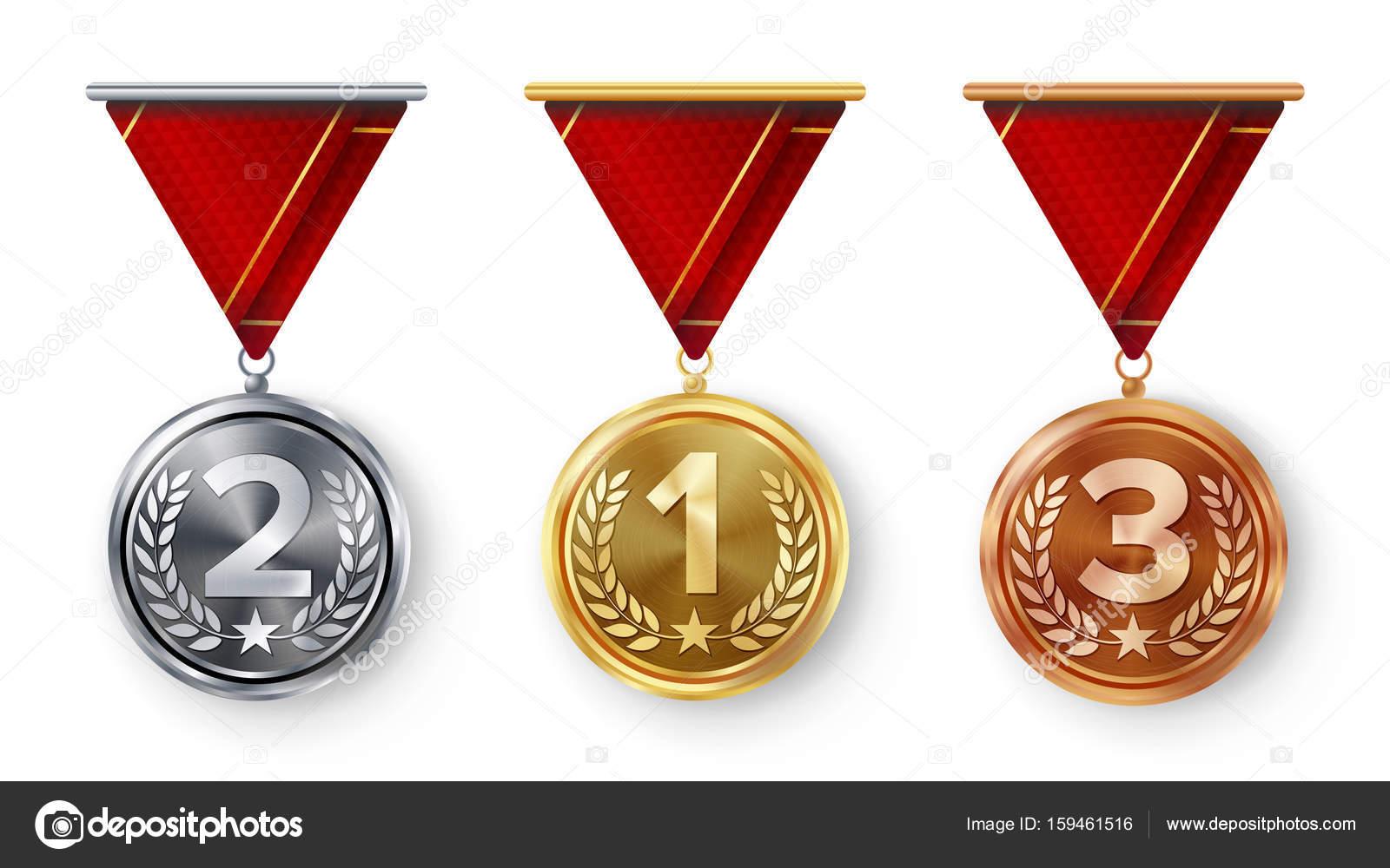 Campeón Medallas Set Vector. Metal Realista Primero