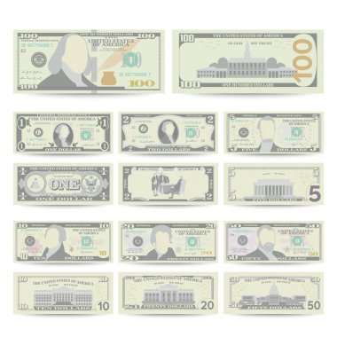 Dollars Banknote Set Vector. Cartoon US Currency. Two Sides Of American Money Bill Isolated Illustration. Cash Dollar Symbol. Every Denomination Of US Currency Note.