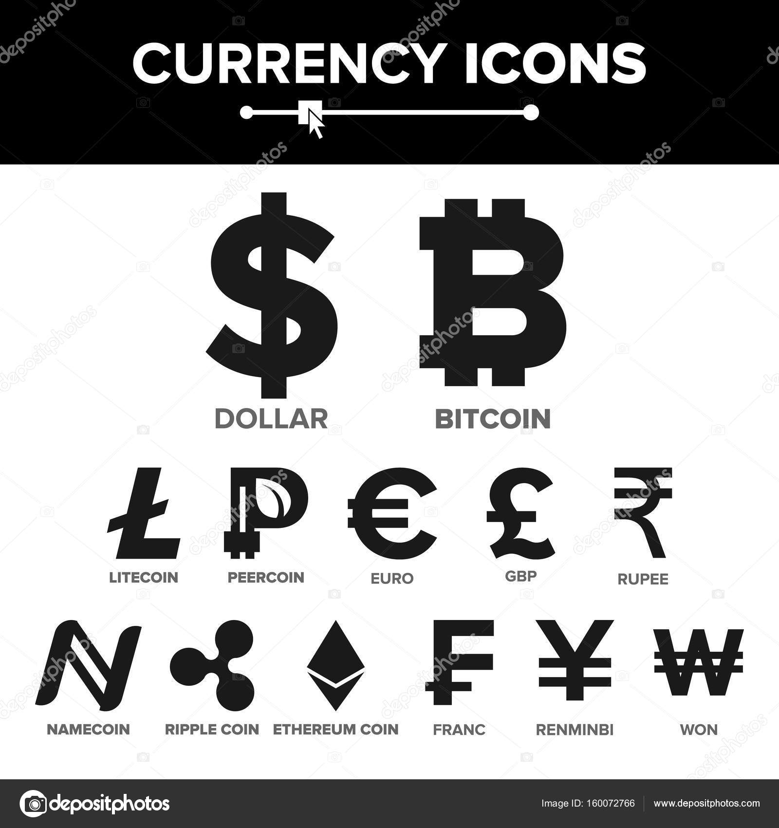 Currency icon sign set vector money famous world currency bitcoin litecoin peercoin ripple coin etherum dollar euro gbp rupee franc renminbi yuan won vector by pikepicture biocorpaavc Gallery