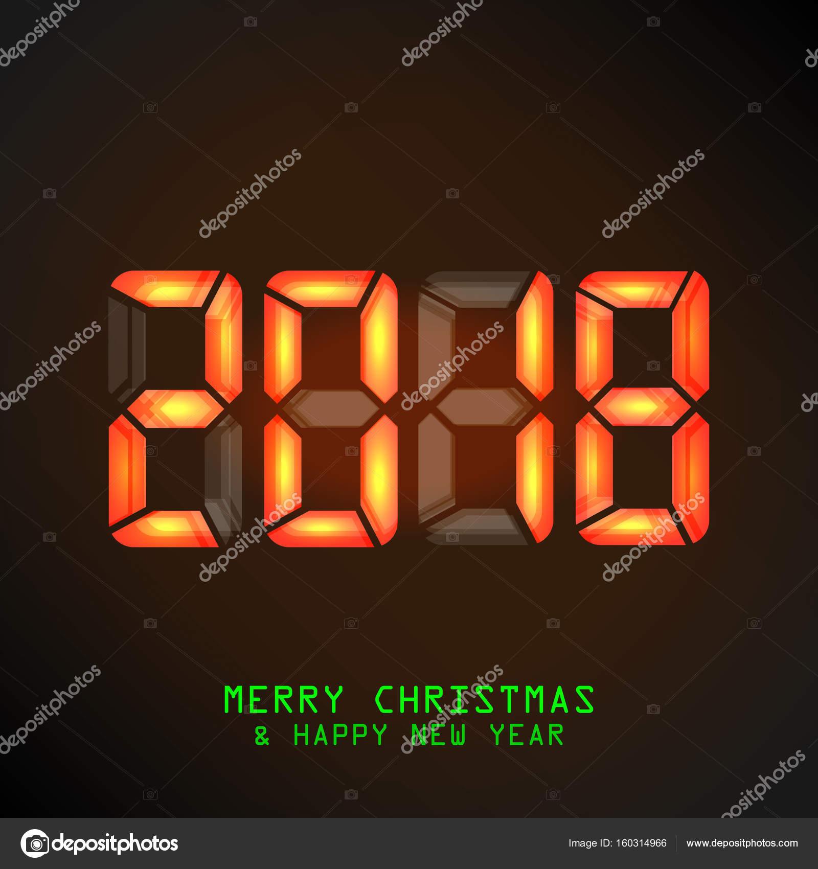Happy New Year 2018. Vektor-mechanische Zeitplan, Split Flap Display ...
