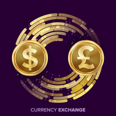 Money Currency Exchange Vector. Dollar, GBP. Golden Coins With Digital Stream. Conversion Commercial Operation For Business Investment, Travel. Financial Or Banking Concept Illustration