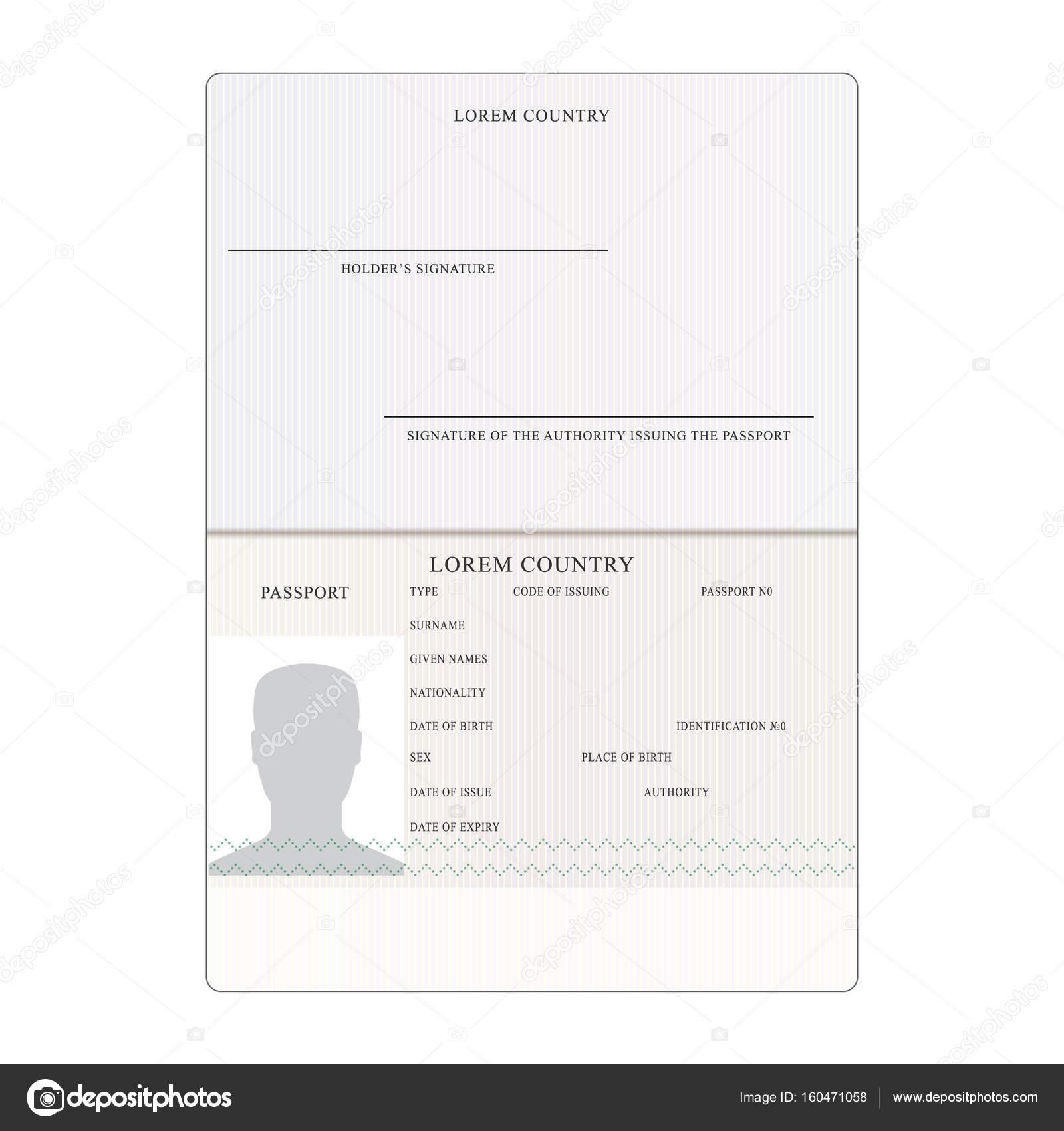 Vector de pasaporte. Documento de identificación de personas ...