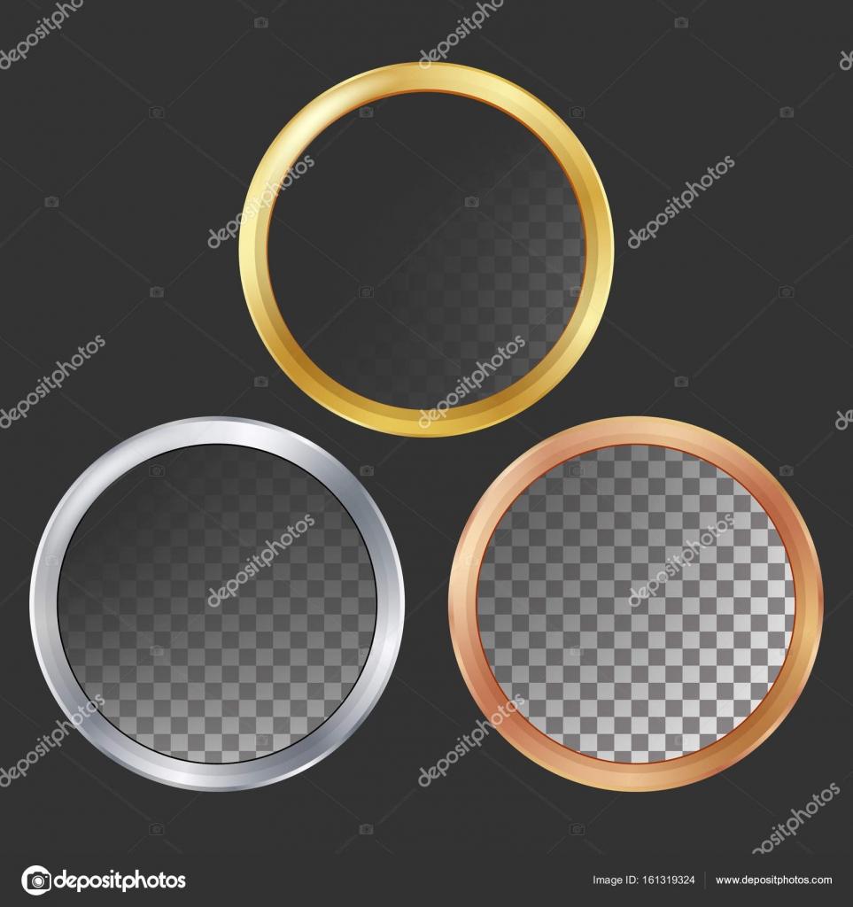 Vectores de marcos de Metal oro, plata, bronce, cobre. Ronda ...