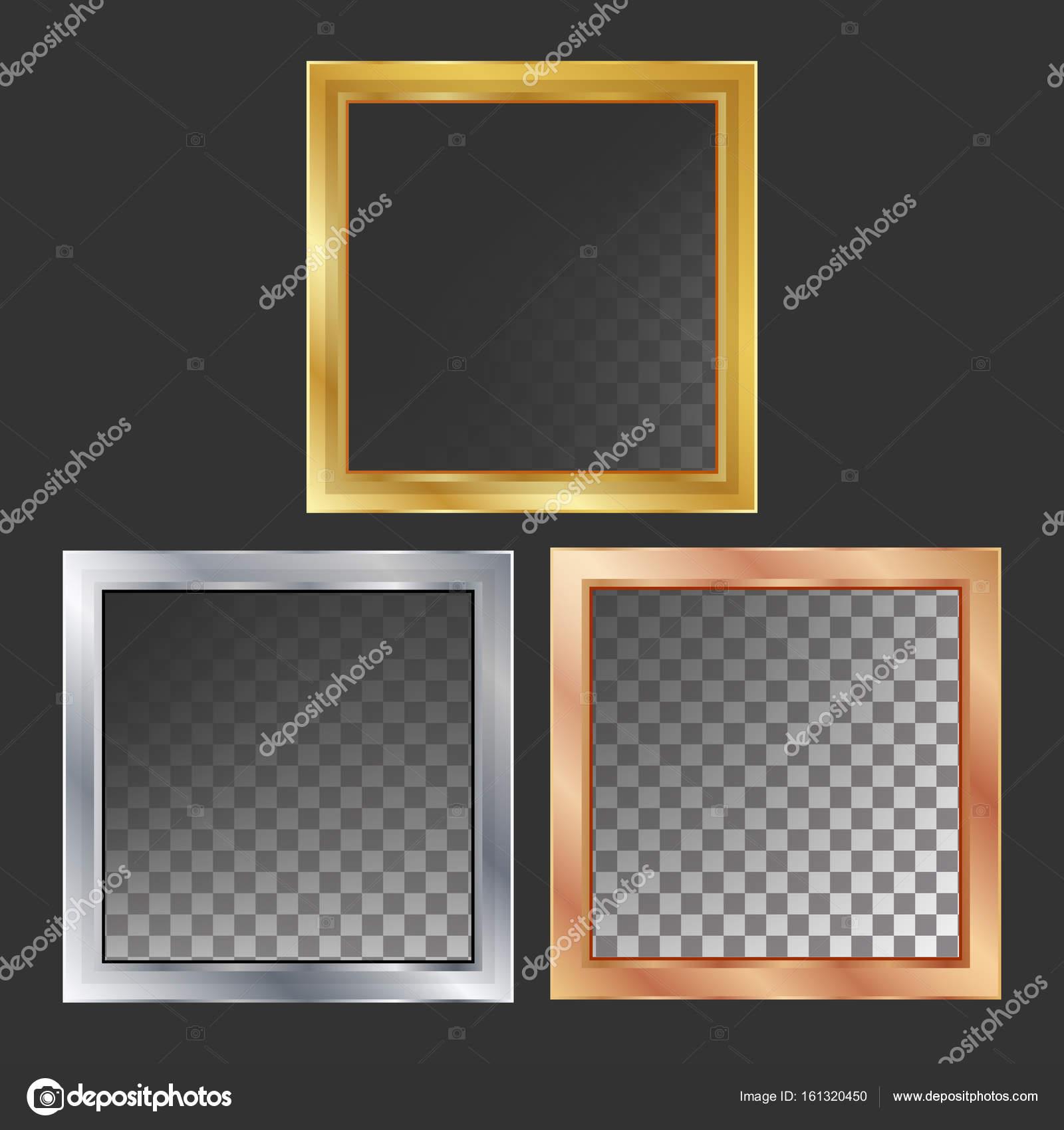 Vectores de marcos de Metal oro, plata, bronce, cobre. Plaza ...