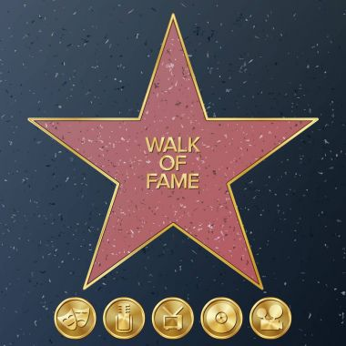 Hollywood Walk Of Fame. Vector Star Illustration. stock vector