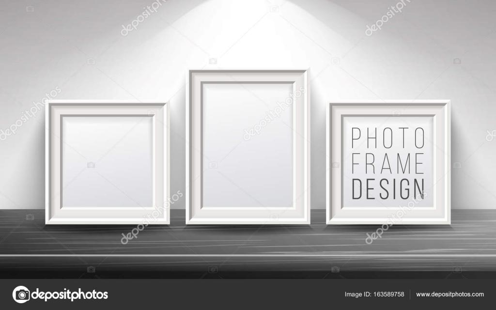 Vector marco de imagen realista en blanco. Se burlan de madera clara ...