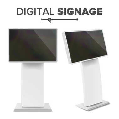 Digital Terminal With Touch Screen Vector. Interactive Digital Informational Kiosk. Digital kiosk LED Display. Isolated Illustration