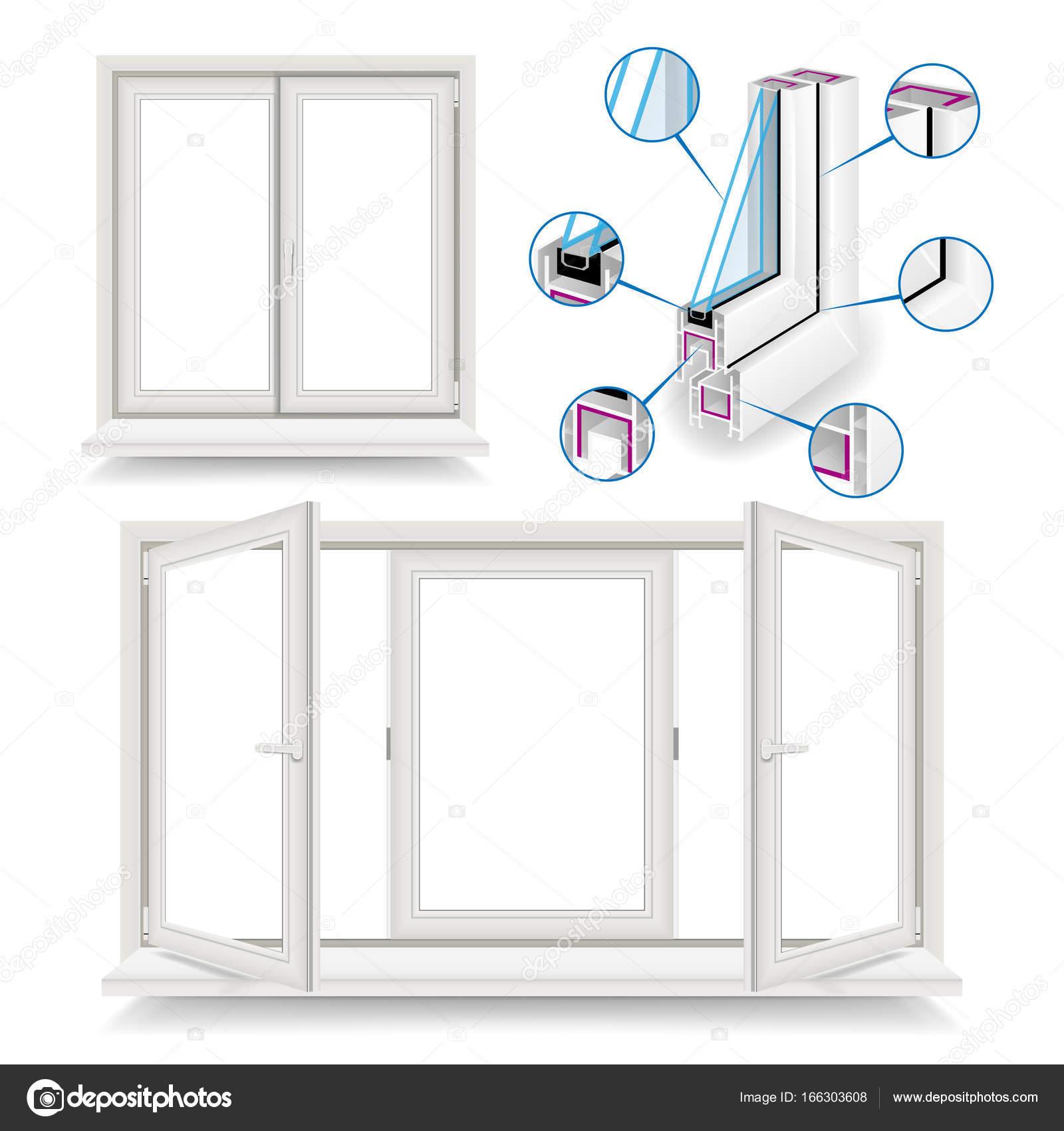 Plastic Window Vector. Infographic Template. Plastic Window Frame ...