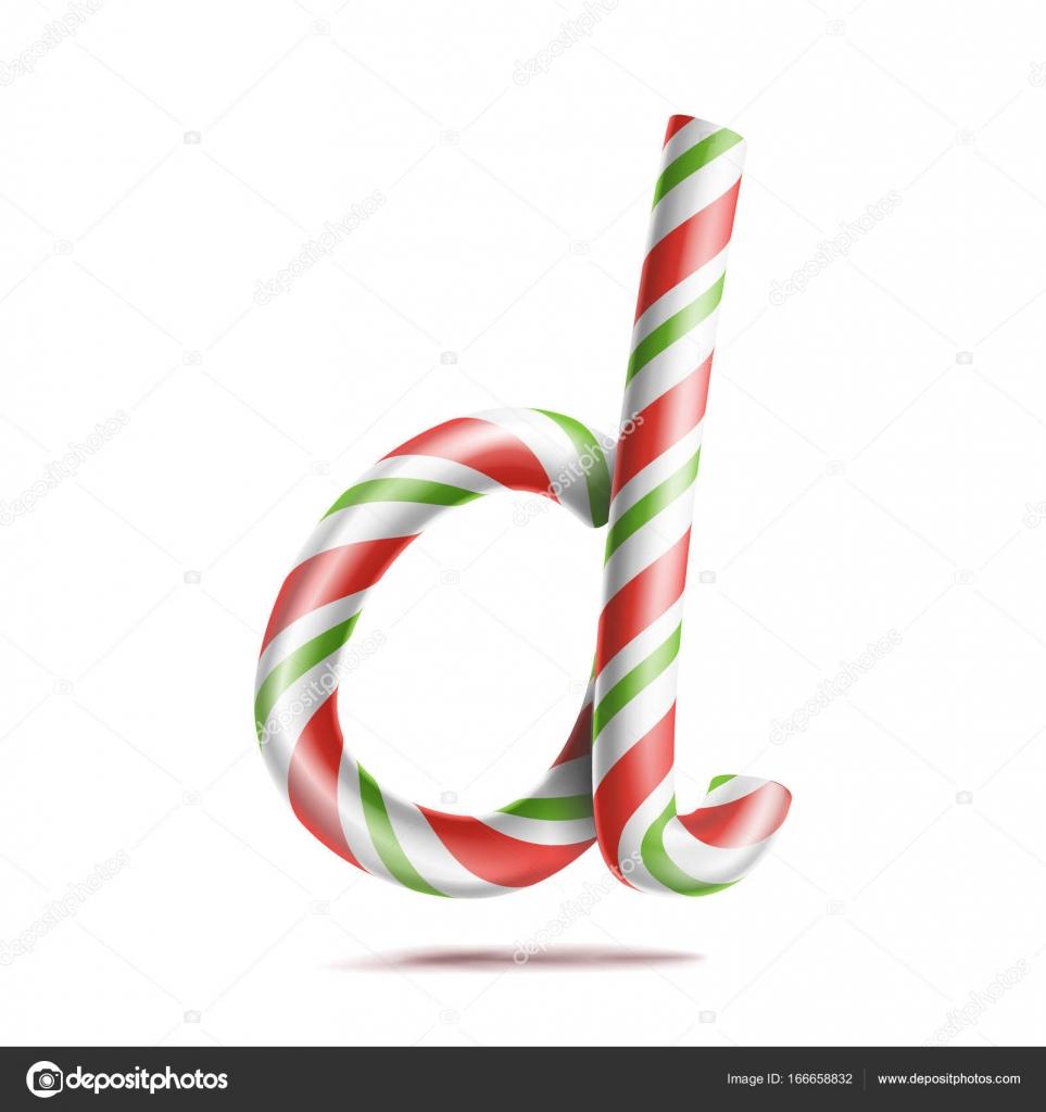 Letra D Vector. 3D símbolo de alfabeto realista bastón de caramelo ...