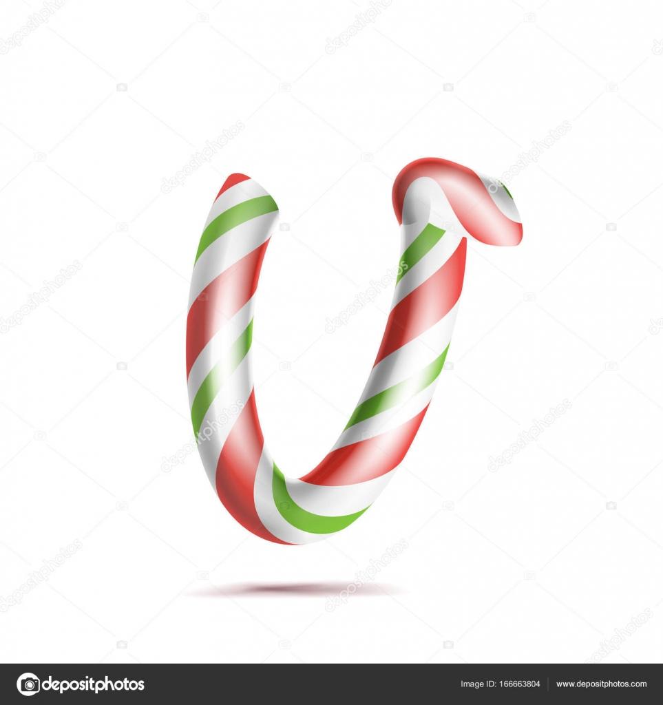 Letra V Vector. 3D símbolo de alfabeto realista bastón de caramelo ...