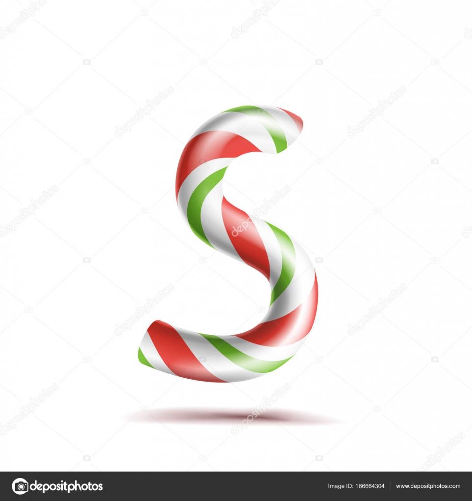 Letra S Vector. 3D símbolo de alfabeto realista bastón de caramelo ...