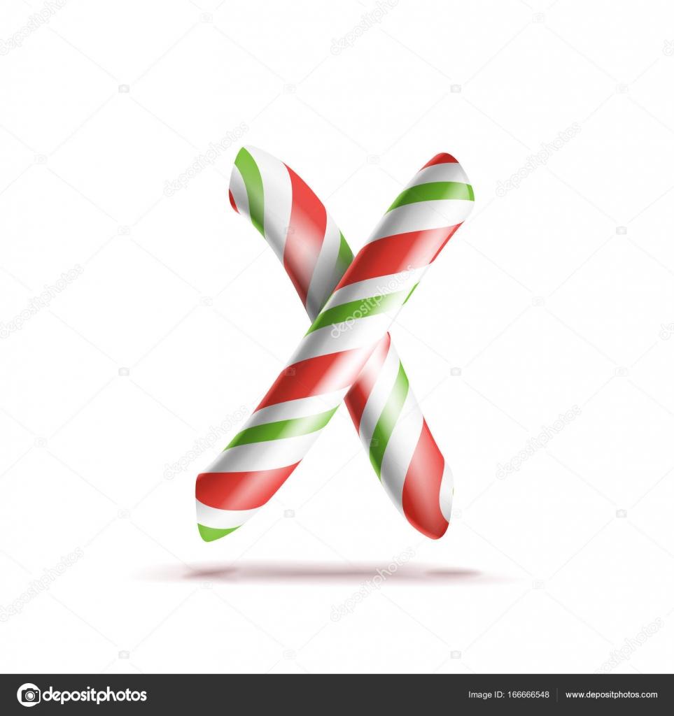Vector de la letra X. 3D símbolo de alfabeto realista bastón de ...